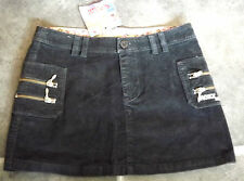 "NEW QUICKSILVER BLACK VELVET MINI SKIRT ZIPS STYLE AGE 14 YEARS WAIST 28"" 71cm"