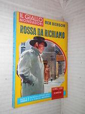 ROSSA DA RICHIAMO Ben Benson Il Giallo Mondadori 655 1961 libro narrativa corso