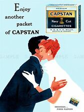 ADVERT CIGARETTES TOBACCO SMOKING CAPSTAN NAVY CUT UK ART POSTER PRINT LV103