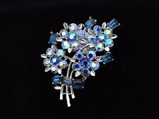 Vintage Lisner Blue AB Rhinestone Flower Brooch Pin Book Piece