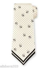 Alexander McQueen Ivory and Black Skull Themed 100% Silk Tie New