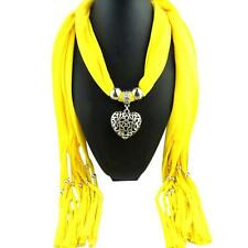 Women Lady Winter Autumn Tassel Heart Gemstone Necklace Scarf Chic Warm Scarves