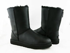 UGG Australia Classic Short Zip Black Leather Fur Sz 8 Boots 1013148