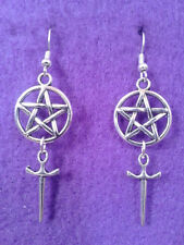 Pentagram and Athame Earrings * Pagan Dagger Sword Star Charms Wicca