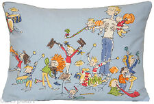 All Join in Cushion Cover Quentin Blake Illustration Blue Fabric Orcestra