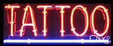 "NEW ""TATTOO"" 24x10x3 UNDERLINED REAL NEON SIGN W/CUSTOM OPTIONS 12171"
