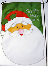 "sm Applique ""Santa Stop Here"" Santa Claus Christmas Garden Art Flag (12"" x 19"")"