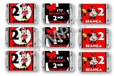 Minnie Mouse in Red Dress Mini Candy Bar Wrappers - Birthday Favors - Set of 84