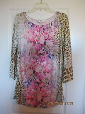 Boston Proper Floral Leopard Top Pink Multi XL NWT 3/4 Sleeves Ruched Sides