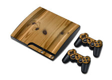 The Wood Skin Sticker For PS3 Slim PlayStation 3 Slim Console & 2 Controller