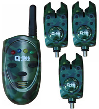 Q-DOS SUPREME CAMO WIRELESS CARP FISHING BITE ALARM SET + RECEIVER 3 x ALARMS