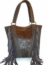 Trinity Ranch® Concealed Carry, Shoulder Bag w/ Leather Fringe & Tooling- Coffee