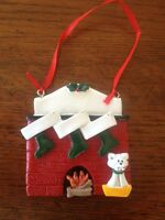 Personalized Fireplace Family of 3 w/ Dog or Cat Christmas Ornament