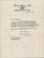 Journalist FREDERIC WILLIAM WILE Signed Letter - 1920