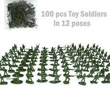 100 pcs Military Plastic Toy Soldiers Army Men Green 1:72 Figures 12 Poses