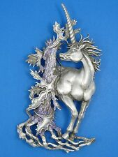 VINTAGE SIGNED J.J JONETTE JEWELRY WHIMSICAL UNICORN GLITTER ACCENT PIN BROOCH