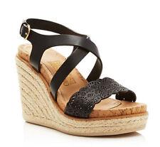 Salvatore Ferragamo Gioela Wedge Espadrille Sandal Nero Calf Size 8 B