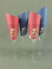 Perrier Jouet Champagne Flutes Glasses PJ Anemone Belle Epoque France Lot of 4