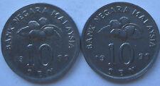 Malaysia 10 sen 1999 coin 2 pcs