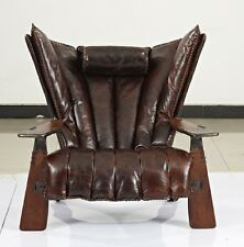 "41"" W club chair italian dark brown polished leather solid exotic wood luxurious"