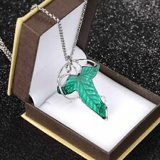 Lord of The Rings Green Leaf Elven Pin Brooch Pendant With Chain Necklace WP
