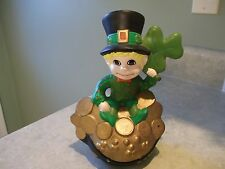 ST.PATRICKS CERAMIC LEPRECHAUN FIGURINE~shamrock,pot of gold~decoration~