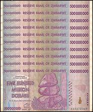 Zimbabwe 500 Million Dollars X 10 Pieces (PCS), AA/2008,Circulated,Used,Trillion