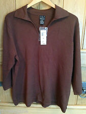 I.N.C. International Concepts V-Neck 3/4-sleeve Brown Jumper - US 2X, UK 22