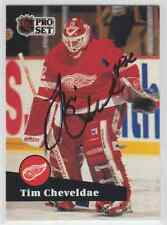 Autographed 91/92 Pro Set Tim Cheveldae - Red Wings