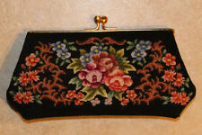 Petit Point Evening Clutch Purse Handbag Needlepoint Floral Republic of China