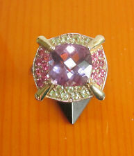 SECONHAND 9ct GOLD MULTICOLOURED AMETHYST& TOURMALINE  CLUSTER RING SIZE O