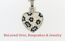 Sparkly White Heart With Blue Flowers Cremation Jewelry Keepsake Pendant Urn
