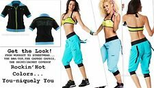 ZUMBA 3Pc.SET~CARGO CAPRI PANTS & HALTER BRA TOP S Or M & Zip-Up SHIRT/JACKET-S