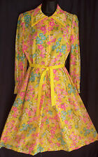 Vtg 60s SUN YELLOW HOUSEWIFE Floral Front Zip Leslie Fay Shirtwaist Day Dress 12