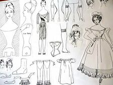 "ROMANTIC ERA 1831-35~ LADY WOODEN BODY & WARDROBE PATTERNS ~ 11""-13"""