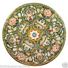 3'x3' Round Marble Dining Table Rare Inlay Mosaic Pietradure Outdoor Furniture