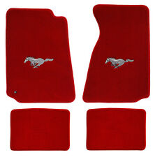 NEW! 1994-2004 Ford Mustang RED Floor mats with Logo Set of 4 Carpet Pony Logo