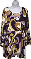 NEW Ladies Papaya Retro Look Purple Yellow & White Top Size UK 18 (M.SH)