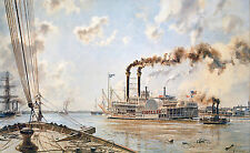 """John Stobart Print - New Orleans: The """"Rob't E. Lee"""" Leaving the Crescent City"""