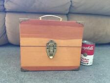 Vintage Beautiful Wood Treasure Stash Box Brass Latches Corners Carry Handle