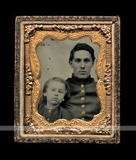 Ambrotype Photo Civil War Soldier & Son * Star Shaped Button * Pocket in Jacket