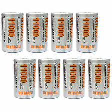 8 pcs D Size 11000mAh 1.2V Ni-MH Rechargeable Battery Cell Ultracell USA Stock