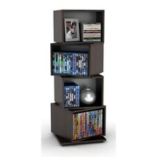 4 Tier Rotating Multimedia Storage Cube Tower Stand Dvd Cd Vhs Rack Shelves
