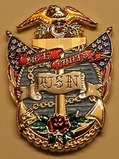 "USS Enterprise (CVN-65) Aircraft Carrier Big ""E"" Chiefs Navy Challenge Coin"