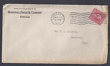 1917 COVER CHICAGO IL MARSHALL FIELD & CO W/INVENTORY SHEET