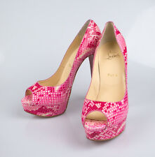 "NIB CHRISTIAN LOUBOUTIN Lady Peep Rose Matador Python 6"" Heels Shoes 10/40 $1795"