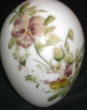 Antique Victorian White Milk Blown Glass Easter Egg Hand Painted Pink Flowers 8""