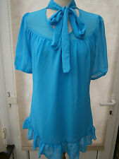 LADIES TURQUOISE CHIFFON TOP WITH NECK TIE DETAIL SIZE 10 NEW (ref 720)