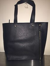 Neiman Marcus large black faux Leather purse Tote Handbag bag shopper NEW