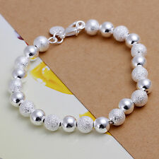 wholesale sterling solid silver fashion jewelry charms 8mm ball Bracelet XLSB084